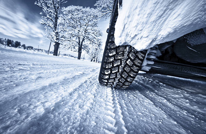 Winter tires on a snowy road