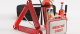 Emergency rodaside kit with all red equipment & supplies