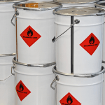 Metal drums of flammable liquids