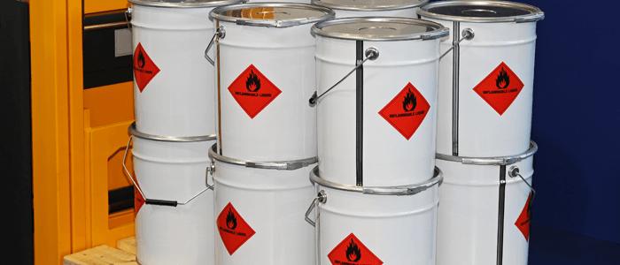 Metal drums of flammable liquids