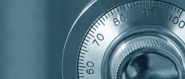 Close up of a sliver combination lock