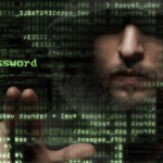 Face of bearded man touching a screen with computer passwords encryption
