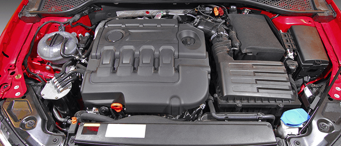 Open hood of a red company vehicle