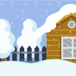 Clip art of a house in winter