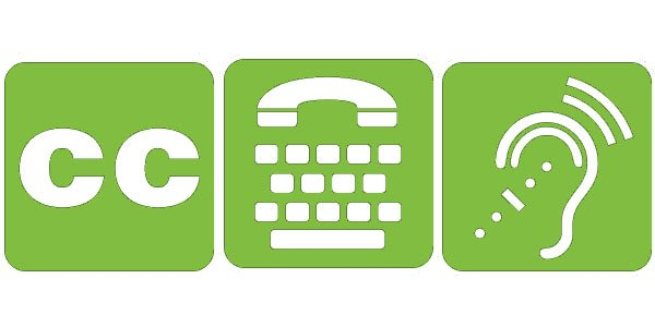 3 accessibility icons representing closed captioning, telephone typewriter and access for hearing loss