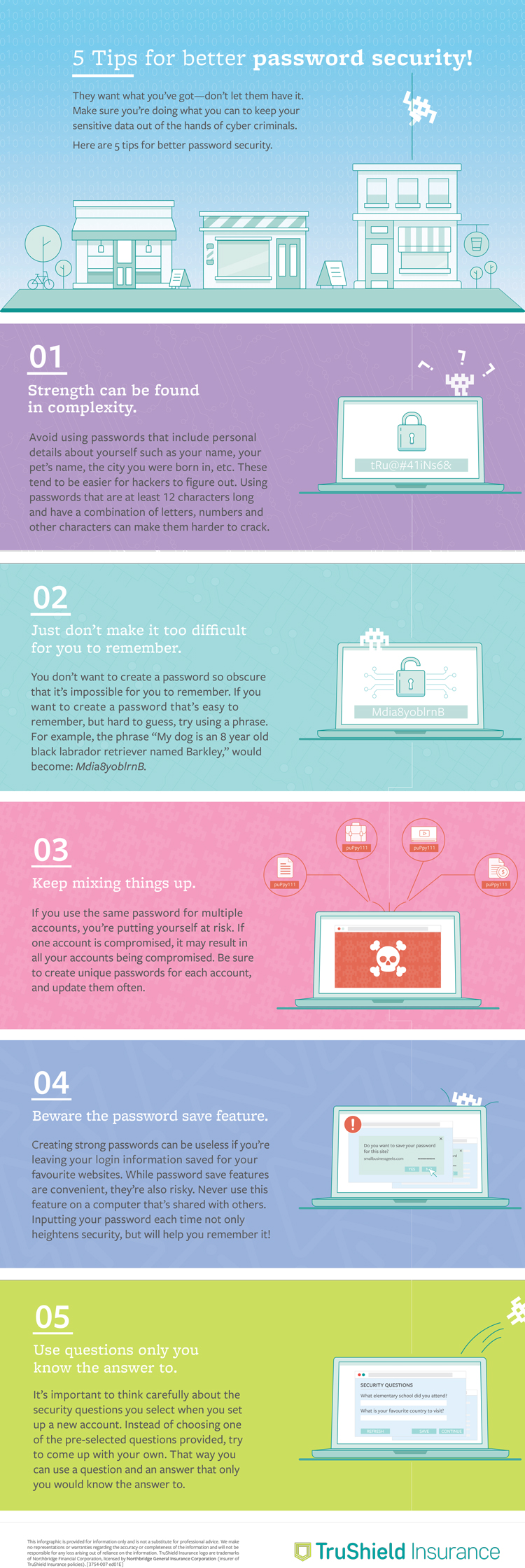 TruShield Inforgraphic on 5 tips for better password security