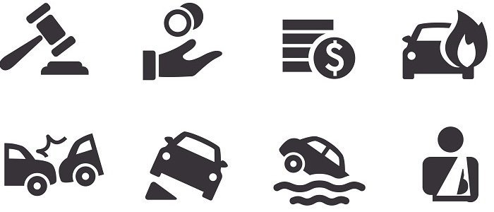 Black and white icons highlighting factors that influence your car insurance premium