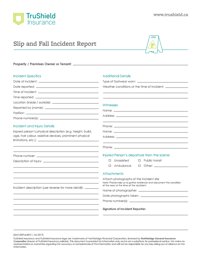 Slip and Fall Report Template