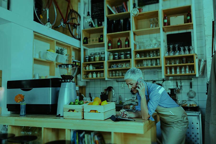 Woman running a café