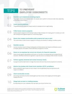 Tip sheet with 10 tips tp help prevent employee dishonesty